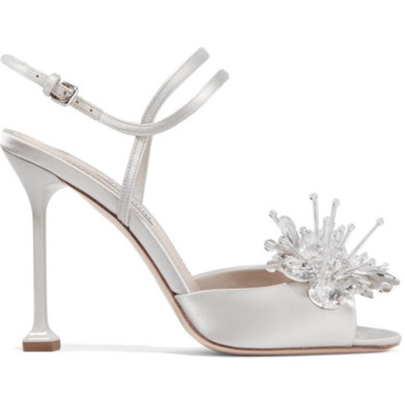 702b75924a66 New Crystal-embellished satin sandals. Boutique. Miu Miu